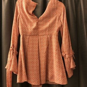 Lush Other - Lush Salmon Patterned Romper